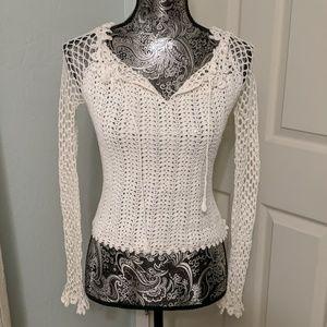 Bebe white crochet beach top sz Small